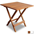 Outdoor Folding Square Coffee/Side Table Acacia Wood Patio Garden Natural/White