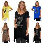 New Womens Plus Size Top Cat T-Shirt Ladies Asymmetric Stud Fur Animal Nouvelle