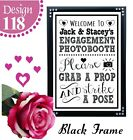 PERSONALISED ENGAGEMENT PHOTO BOOTH GRAB A PROP SIGN CHALKBOARD VINTAGE PICTURE