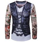 MEN'S False Leather Vest Tattoo Sleeve 3D Printing Long Sleeve Casual T-Shirt