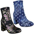 Womens Ladies Denim Floral Flower Velvet High Heel Ankle Boots Celeb Shoes Size