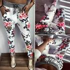 NEW Women Vogue Casual Sports Flower Print Long Pants Slim High Waist Trousers