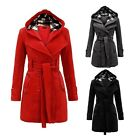 Fashion Hooded Double-breasted Spring Cotton Women Overcoat Lady Outwear---Black