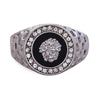 18ct White Gold Medusa Onyx Mens Signet Wedding Band Pinky Ring Size N P Q R U
