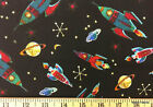 Rocket Space Ships Universe Planets Night Sky Michael Miller Black Fabric t5/20