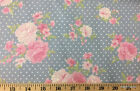 Chambray Floral Pink Flowers Polka Dot Flowers Cotton Yardage w3/9