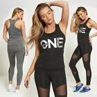 Womens Sexy One An Only Print Sports Gym Yoga Mesh Panel Active Wear Set S 8-14