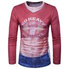 MEN'S Muscle & Jeans 3D Printing Long Sleeve Casual T-Shirt
