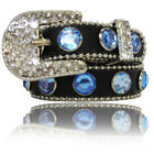 Rhinestone Dog Collar Black Blue Stones