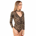 Womens Ladies Choker V Neck Cut Out Ladies Army Leopard Tartan Bodysuit Leotard
