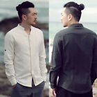 Men Linen Comfy Summer Oriental Chinese Half Grandad Collar Detail Slimfit Shirt