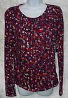 Allen B Womens Knit Top Printed Scoopneck long sleeves size XS S NEW