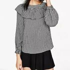 New Womens Ladies Checks & Plaids 3/4 Sleeve Pullover Blouse Tops Shirt SML