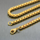 "Gold Polished 316L Stainless Steel Square Rolo Chain Necklace 4mm 18""-36"""