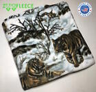 "ZooFleece Snow Tiger 60X60"" Linen Blanket Throw Quilt Siberian Winter Animal  image"