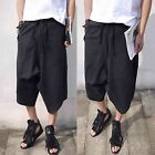 Men Chic Black Elasticated Waist Harem Low Rise Drop Crotch Capri Pants Trousers