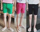 Men Casual Stretch Waist Pink Black Green Drawstring Short Pants Trousers Shorts