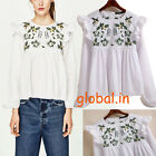 white Floral EMBROIDERED Ruffles Blouse Sweet O-Neck Pullover Shirt Lolita Tops