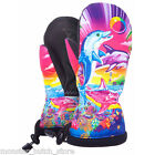 NWT WOMENS CELTEK BITTEN BY A WOMITTEN SNOWBOARD GLOVE LISA FRANK DOLPHINS SMALL