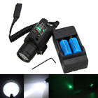 LED Tactical Flashlight+GREEN/RED Laser Sight Combo Picatinny Mount Rail