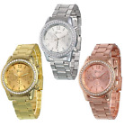 Geneva Women Ladies Crystal Stainless Steel Band Analog Quartz Wrist Watch image
