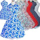 Retro Rockabilly 50s 60s Swing Vintage Dress Casual Print Floral Polka Dot Prom