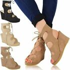 New Womens Ladies Summer Sandals Wedges Mid High Heels Strappy Shoes Size 3-8