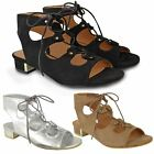 New Womens Ladies Low Heel Summer Sandals Lace Up Strappy Party Shoes Size 3-8
