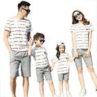 Summer striped Family cotton mother Girl father Boy sets T shirt + shorts Pants