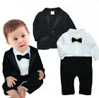 Newborn Baby Boy Wedding Formal Party Tuxedo Suit Cloth Outfit+Jacket Set 0-18M