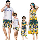 New Summer cotton Family clothing Floral woman girl dress father son Sets Sport