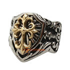 Vintage Noble Gold Classic Cross Silver Knight Templar Shield Men's Ring