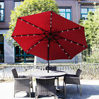 9FT Outdoor Metal Solar Powered LED Patio Umbrella Table Window Awning Garden