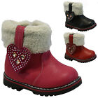 GIRLS WINTER ZIP BOOTS BABIES PARTY TODDLERS WARM FUR ANKLE INFANTS SHOES SIZE