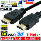 PREMIUM HDMI Cable v2.0 HD High Speed 4K 2160p 3D Lead 1m/2m/3m/4m/5m/7m/10m <br/> 22GBPS SPEED || 28AWG 4K || TRIPLE SHIELDED || ETHERNET