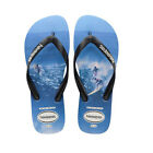 HAVAIANAS NEW Mens Top Photoprints Flip Flops Black / Blue BNWT