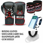 Professional Boxing Sparring Gloves Gum Sheild Hand Wrap Carry Bag Deal BLACK