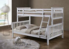 Hot Sale! Luxury White Wooden Triple Sleeper Bunk Bed  Splits into Single & Beds