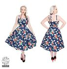 HEARTS AND ROSES H&R LONDON DOTTY  FLORAL FLARED SWING DRESS RETRO VINTAGE 50'S