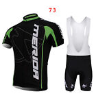 Outdoor Sport Mens Team Short Sleeve Cycling Jersey and Bib Shorts Set Size