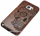Skull Pattern Wood Bamboo Hard Case Back Cover For Samsung Galaxy S7 Edge Note 5