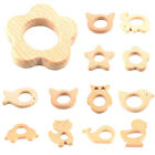 Handmade Natural Wooden Animal Shape Baby Teether Teething Safe Toy Shower