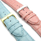 Apollo Leather Replacement Watch Band Padded Croc Grain 24mm Pink or Light Blue