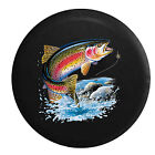 Rainbow Trout in the River - Fly Fishing Lure Jeep RV Camper Spare Tire Cover