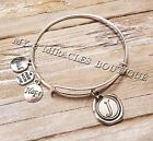 INITIAL Bangle Charm Bracelet Expandable Wire U PICK LETTER Personalized Gift