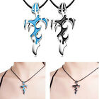 Unisex's Blue/Black Silver Stainless Steel Cross Pendant Necklace Chain Gift x 1