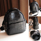 Studded  Real eather Small Backpack Rucksack Daypack Purse Cute bag Croc Print