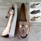 Womens New Loafers Casual Brogue Glitter Metallic Pumps Flat Tassel Shoes Sizes