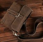 New Men's Vintage Genuine Crazy Horse Leather Shoulder Bag Purse Waist Bag S