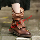 Vintage Womens Leather Ankle Boots Buckle Retro Ladies Zipper Boots Shoes Chic